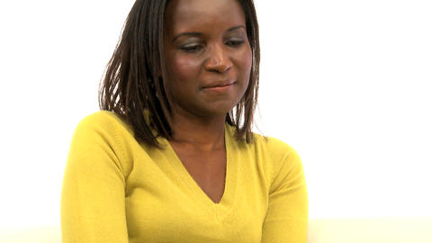 Attractive african american woman using laptop, motion jib Stock Video Footage