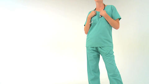 Female doctor on white background, motion jib Stock Video Footage