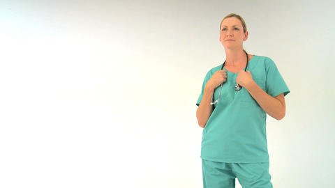 Female doctor on white background, motion jib Footage