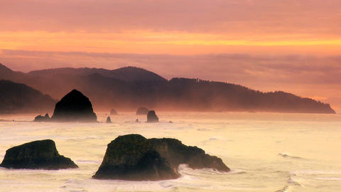 Cannon Beach at sunset Stock Video Footage