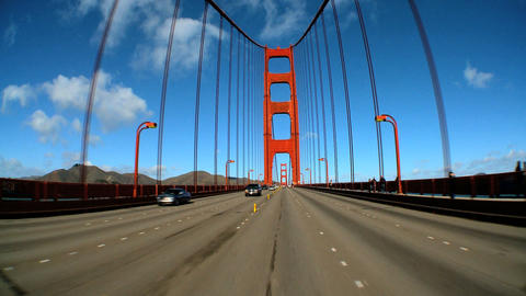 Timelapse point-of-view with fish-eye lens of driving on the Golden Gate Bridge Footage
