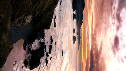 Vertical sunset over Cannon Beach Stock Video Footage