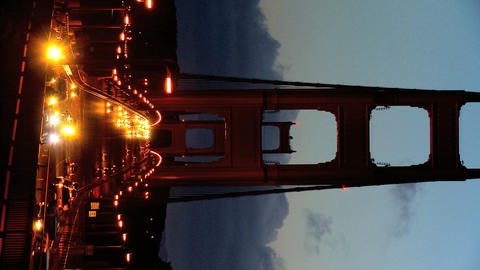 Vertical night traffic on Golden Gate Bridge Stock Video Footage