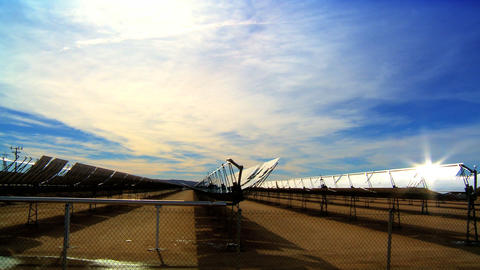 Cluster of solar panels producing clean & renewable energy Footage