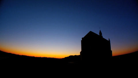 Timelapse sunrise behind a country church Stock Video Footage