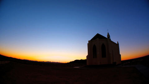 Timelapse sunrise behind a country church Footage