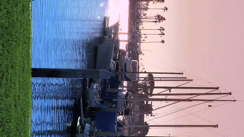 Vertical view of a marina at dusk Stock Video Footage