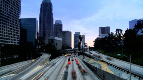 Timelapse of night traffic in downtown LA Footage