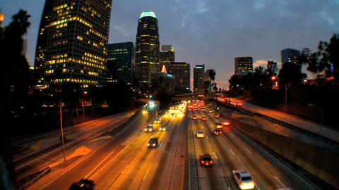 Traffic in downtown LA at night Footage