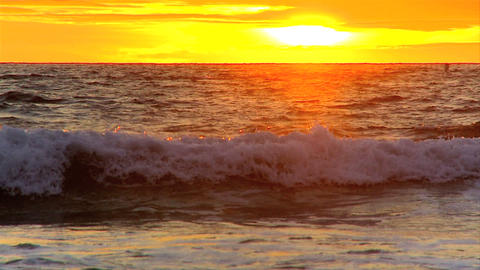 Sunset over a Pacific coast beach outside Los Angeles Stock Video Footage