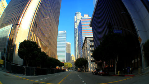 Point-of-view with fish-eye driving in downtown LA Stock Video Footage