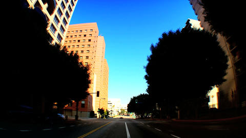 Point-of-view timelapse of driving downtown LA Footage