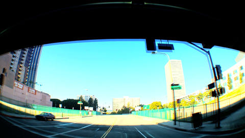 Point-of-view timelapse of driving downtown LA Stock Video Footage