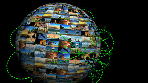 Moving travel globe of postcard views with flight route... Stock Video Footage