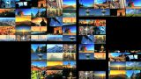 Multiple Moving Panels Of Aircraft & Travel Destination Images stock footage