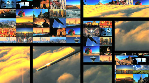 Multiple moving panels of aircraft & travel destination images Footage