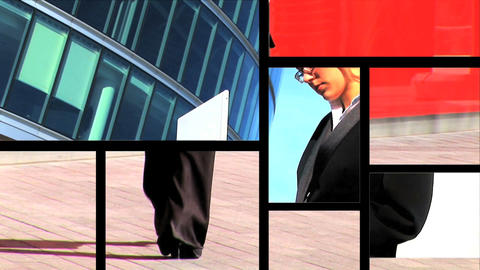 Multiple moving panels of women in business Stock Video Footage