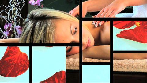 Multiple moving panels of health & beauty spa scenes/images Footage