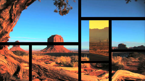Multiple moving panels of varied scenes/images at Monument Valley,USA Footage