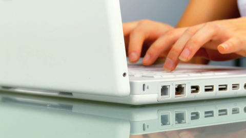 Close-up of laptop computer being used by young woman Stock Video Footage