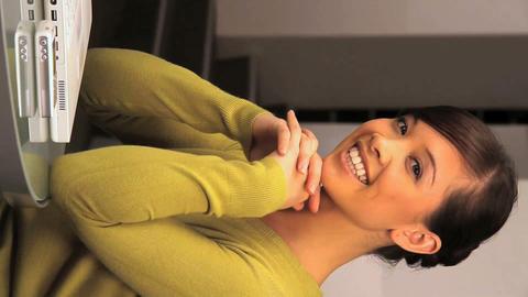 Vertical portrait of a western oriental businesswoman Stock Video Footage