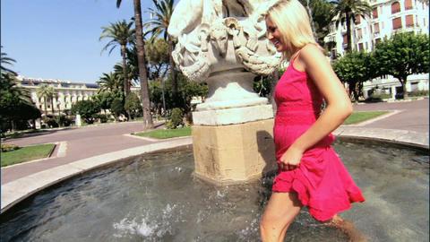 Beautiful blonde girl enjoying the mediterranean lifestyle Stock Video Footage