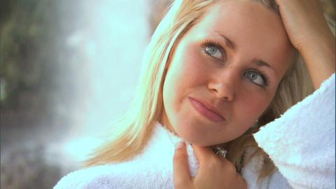 Beautiful blonde girl enjoying the spa lifestyle Stock Video Footage