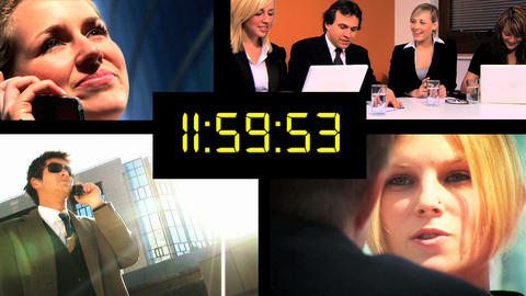 Montage of business people meeting deadlines with digital... Stock Video Footage