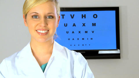 Ophthalmic optician working in clinical care Stock Video Footage