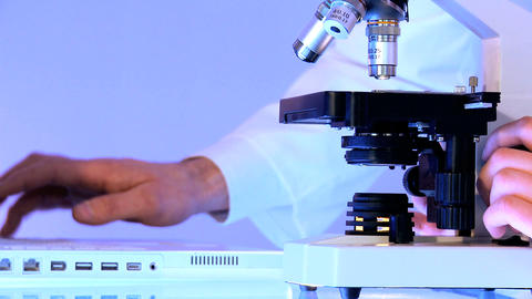 Young caucasian healthcare staff working with laboratory... Stock Video Footage