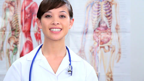Western oriental doctor working in clinical healthcare Stock Video Footage