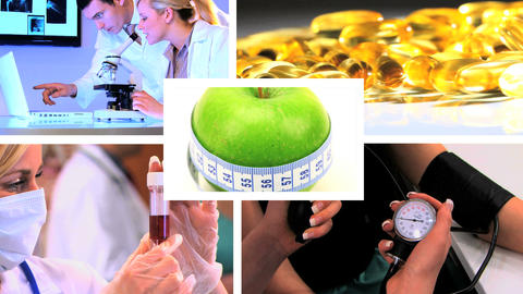 Montage of medical & healthcare scenes/images Stock Video Footage