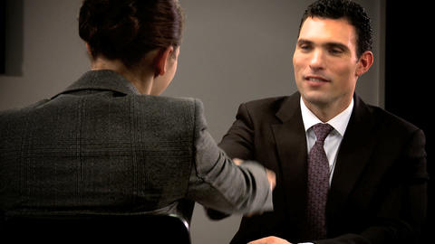 Ambitious young person attending a business interview Footage