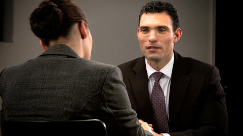 Ambitious young person attending a business interview Stock Video Footage
