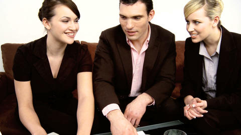 Healthy living young business colleagues working in... Stock Video Footage
