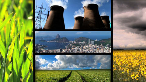 Montage of moving images of biofuel production & use Stock Video Footage
