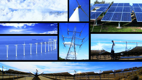Montage Of Moving Images Of Renewable Energy & Power Sources stock footage