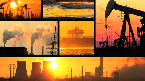Montage of moving images of fossil fuel energy & power sources Footage