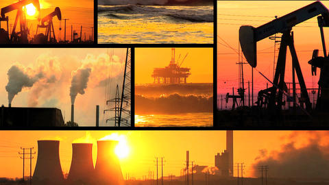 Montage of moving images of fossil fuel energy & power... Stock Video Footage