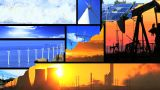 Montage Of Moving Images Of Choice Between Fossil Fuel & Renewable Energy stock footage