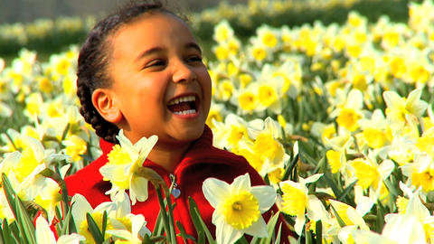 Girl in Flower Field Stock Video Footage