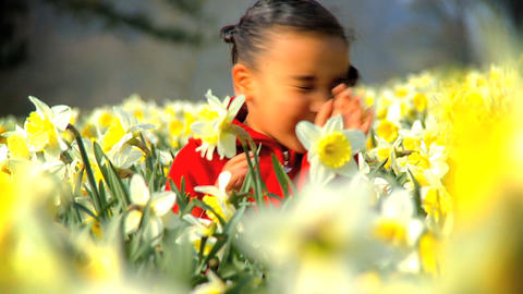 Girl in Flower Field Footage