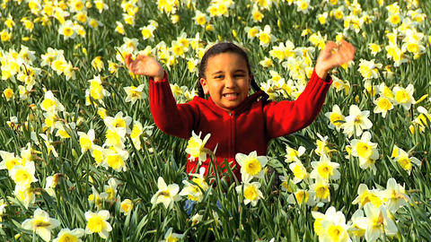 Girl Waving in Flower Field Footage