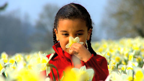 Girl Smelling Flower Footage