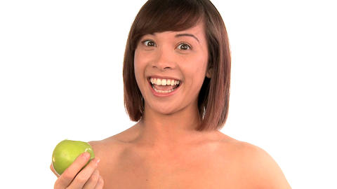 Portrait of western oriental girl confident in her beauty from healthy living Footage