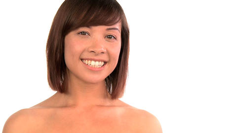 Portrait of western oriental girl confident in her beauty... Stock Video Footage