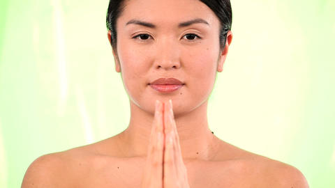 Oriental japanese girl happy with inner beauty from yoga... Stock Video Footage