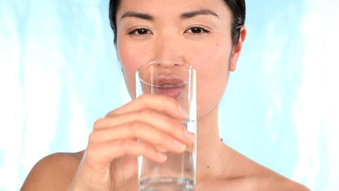 Portrait of oriental japanese girl confident in her beauty from healthy living Footage