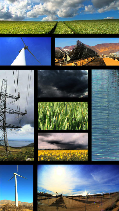 Vertical montage of images of renewable energy production Stock Video Footage