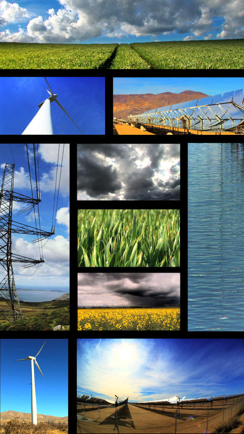 Vertical montage of images of renewable energy production ภาพวิดีโอ